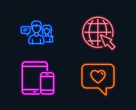 People talking, Internet and Mobile devices icons. Love message sign. stock illustration