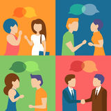 People talking. Meeting,. Talks, gossips, collection Cartoon character Vector  illustration Royalty Free Stock Image