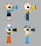 People are talking into a megaphone. Big set of icons - people of all ages and professions talking into a megaphone. Flat vector illustration Royalty Free Stock Photo