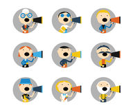 People are talking into a megaphone. Big set of icons - people of all ages and professions talking into a megaphone. Flat vector illustration Stock Image