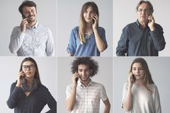 People talking on mobile phone. People talking on  mobile phone royalty free stock photos