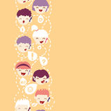 People talking on the mobile phone vertical. Vector people talking on the mobile phone vertical seamless pattern background with hand drawn elements Royalty Free Stock Images