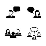 People talking. Simple Related Vector Icons. Set for Video, Mobile Apps, Web Sites, Print Projects and Your Design. Black Flat Illustration on White Background Royalty Free Stock Photo