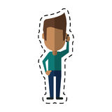People talking smartphone mobile cut line vector illustration