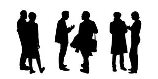 People talking to each other silhouettes set 1 Royalty Free Stock Images