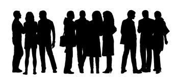 People talking to each other silhouettes set 9 Royalty Free Stock Photos