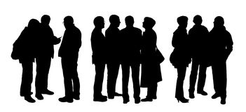 People talking to each other silhouettes set 5 Stock Image