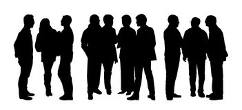 People talking to each other silhouettes set 3 Stock Photo