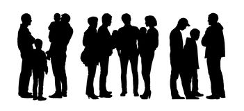 People talking to each other silhouettes set 4 Royalty Free Stock Photography