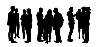 People talking to each other silhouettes set 1 Stock Photos