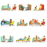 People talking to psychologist. Patients at a reception at the psychotherapies. Psychotherapy counseling, colorful Stock Image