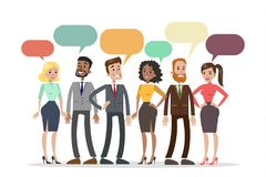 People talking together. People talking together with colorful speech bubbles royalty free illustration