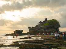 People at Tanah Lot temple on the sea in Bali, Indonesia Royalty Free Stock Photos