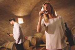 People tasting wine in winery Stock Images