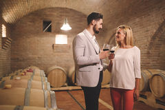 People tasting wine in winery Stock Photos