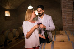 People tasting wine in winery basement Royalty Free Stock Photography