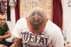 People at tattoo convention in Milan, Italy Stock Images