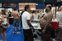 People at tattoo convention in Milan, Italy Stock Photos