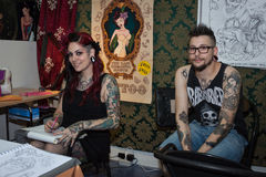 People at tattoo convention in Milan, Italy Royalty Free Stock Image