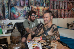 People at tattoo convention in Milan, Italy Stock Photography