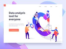 People in a team build a pay chart and interact with graphs. Landing page template. 3d isometric illustration royalty free illustration
