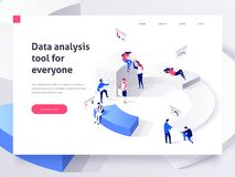 People in a team build a pie chart and interact with graphs. Landing page template. 3d isometric illustration. People in a team build a pie chart and interact stock illustration
