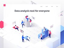 People in a team build a time schedule and interact with graphs. Landing page template. 3d isometric illustration. People in a team build a time schedule and vector illustration