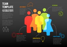 People team infographic template. For company overview or hierarchy schema - dark version Stock Image