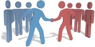 People team leaders reach agreement. Business company or social team leaders come to agreement with handshake stock illustration