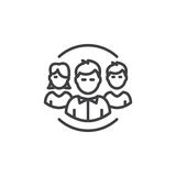 People, team line icon, outline vector sign, linear pictogram isolated on white. Royalty Free Stock Photography