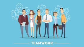 People in team. People in team working together like gears stock illustration