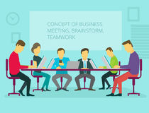 People team sitting and working together at the Royalty Free Stock Photos