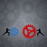 People team up technology solution gears Royalty Free Stock Images