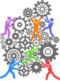 People teamwork gears background Stock Photo
