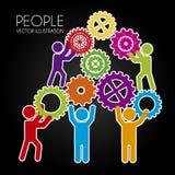 People teamwork. Over black background vector illustration Stock Photos