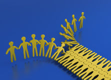 People teamworking like a Zipper. People integrating in an orderly way for strength and teamwork on a blue background Stock Images