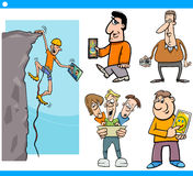 People and technology cartoon set Stock Photos
