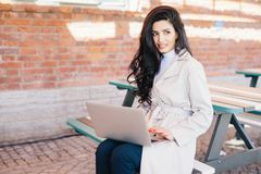 People, technology, communication concept. Beautiful female with royalty free stock images