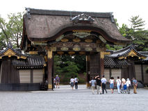 People at the temple. Group of people visiting Nijo Castle in Kyoto Royalty Free Stock Photo