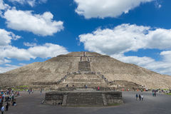 People at the Temple of the Sun in the Teotihuacan archaeological site in Mexico. Stock Images