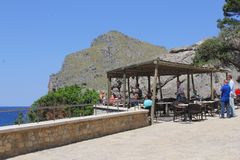 Cafe terrace with sea view at Mallorca, Spain Royalty Free Stock Photo