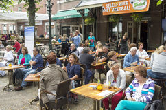 People on a terrace of Cafe Weapon of Voorschoten, during Jazz Culinary. Royalty Free Stock Photography