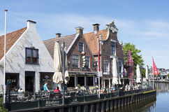People on a terrace in the center of Lemmer. Royalty Free Stock Photography