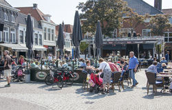 People on terrace in Harderwijk stock images