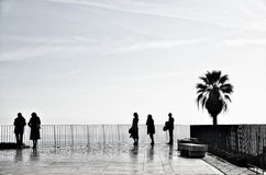 People on the terrace in Lisbon Royalty Free Stock Photos