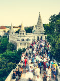 People on terrace and Mathias Church in Fishermen Bastion Royalty Free Stock Photography