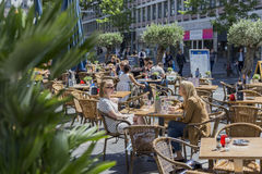 People on the terraces close to the Lijnbaan, Rotterdam Royalty Free Stock Photos