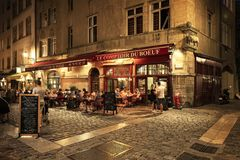 People and terraces in the old town of Lyon Stock Photo