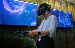 Vr gaming sets at sonar festival. People test different virtual reality models and environments during sonar advanced music and arts in barcelona Royalty Free Stock Photo