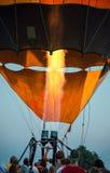 People testing balloon burner of an aerostat. Stock Photos